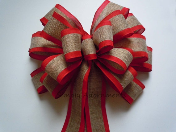 Xlarge Red Trim Burlap Christmas Bow Red Natural Burlap Christmas Topper Bow Rustic Burlap Christmas Wreath Bow Burlap Cabin Burlap Tree bow