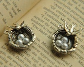 6pcs 7x20x25mm Antique silver Lovely 3D Bird Nest Charms Pendant