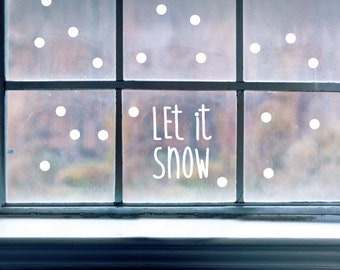 LET IT SNOW Christmas Season Xmas Wall Door Window Vinyl Decal ST1138