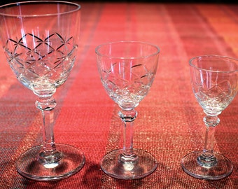 Set Of 7 One of a kind Vintage Sherry Glasses Hand-Etched Crystal Sherry Port Glasses, wedding anniversary birthday gift, housewarming gift