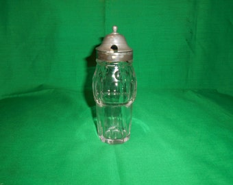 """One (1), 5 1/2"""" Cut Glass, Castor Bottle, with Pewter ? Top."""