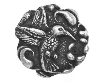 Hummingbird 7/8 inch ( 23 mm ) Pewter Metal Button