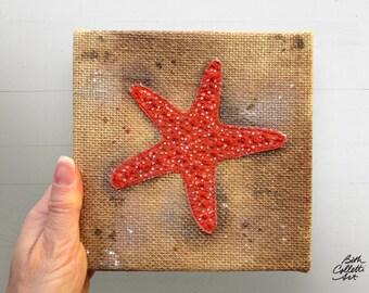 Starfish Decor, Coastal Decor, Rustic Beach, Beach Cottage Decor, Burlap Embroidery, Nautical Wall Art, Mixed Media Art, Beachy Bathroom