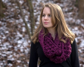 Crochet Infinity Scarf, Red Violet Chunky Scarf