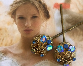 Decorative Hair Pins Bridal Jewelry Sapphire Blue AB Aurora Borealis Rhinestone Hairpins Bobby Pins