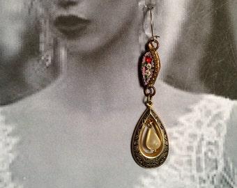 Mosaic Damascene Earrings 1920 1930's Pink Micro Mosaic Pearl