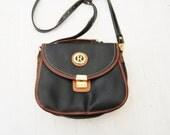 Vintage 90s Black Tan Leather Flip Purse / Bag / Shoulder