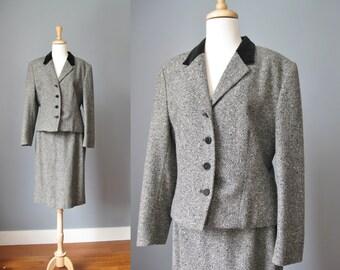 Pendleton Black and White Tweed Skirt Suit / Vtg 70s / Black and White boucle tweed Skirt Suit