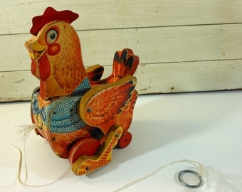 Fisher Price Katy Kackler The Red Hen Wooden Pull Toy