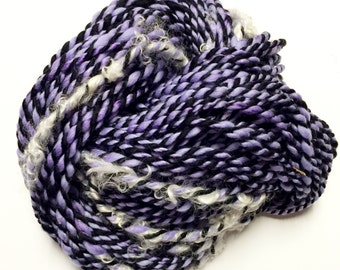 Bulky Art Yarn- Purple Zebras With Feathers