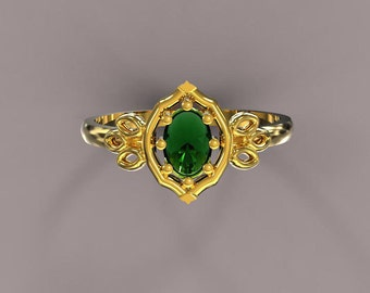 emerald engagement ring, oval emerald solid gold ring