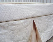 """Luxury Baby Bedding Set: 2-pieces, crib skirt, crib sheet (our faux bumper), """"Oatmeal & Cream"""" cotton luxe, Custom Made to Order"""