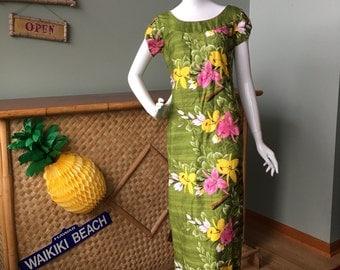 Gorgeous Tropicana made in Honolulu muu muu / maxi dress. 1950's-60's