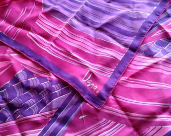 vintage Vera Graphic Art Silk Scarf Purple Pink  Brush Stroke Abstract Print Made in the USA