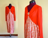 1960s Vintage Red, Silver and Gold Metallic Cocktail Dress size S M bust 36