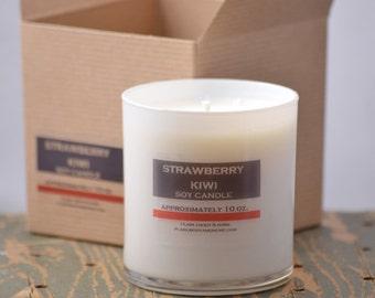 Strawberry Kiwi Soy Candle White Glass Tumbler 10oz - strawberry candle - kiwi candle - tropical candle - fruit soy candle - fresh scent