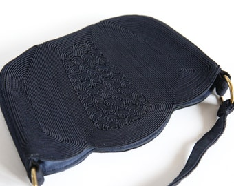 Lovely Dark Navy Blue Piping Detailed 1950s Vintage Purse / 1940s Hand Bag