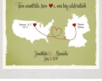 Custom Wedding Print Destination Wedding Gift  Memento Marriage Couple print Signature Guest Book alternative USA Germany Map Signature Map