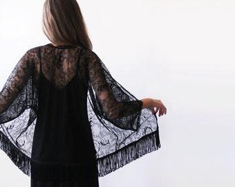Black Fringed lace kimono, Black lace cover up
