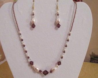 PURPLE PEARL Necklace Set Amethyst Swarovski Crystal Creamrose Pearl  Goldfill Earwire