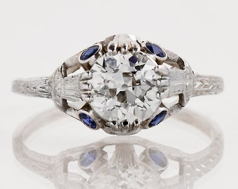 Antique Engagement Ring - Antique 1920's Diamond & Sapphire Engagement Ring