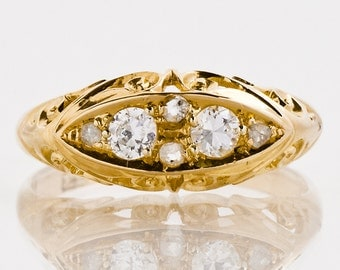 Antique Diamond Ring - Antique 1900 18k Yellow Gold European & Rose Cut Diamond Ring