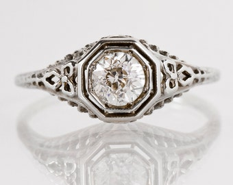 Antique Edwardian 18k White Gold Filigree Diamond Engagement Ring
