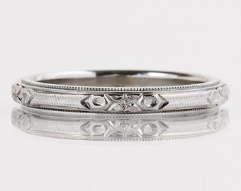 antique wedding band antique 14k white gold etched wedding band - Antique Wedding Ring