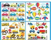 50% OFF SALE Clipart Bundle - Transportation / Cars, Trucks, Construction, Planes, Trains - Digital Clip Art (Instant Download)