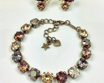 "Swarovski Crystal 8.5mm Bracelet & Earrings - ""Bronzey Browns"" - Browns, Greys, and Golden Hues -Designer Inspired - FREE SHIPPING"