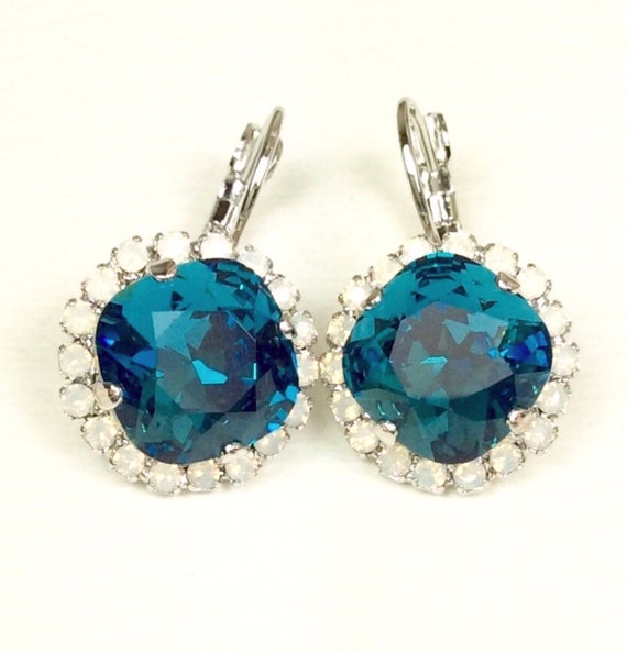Swarovski Crystal 12MM Cushion Cut, Lever- Back Drop Earrings - With Halo - Gorgeous -  Indicolite with White Opal  SALE 35. - FREE SHIPPING