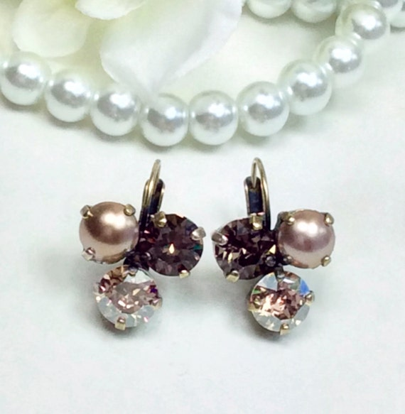 "Swarovski Crystal 8.5mm Earrings Three Stone - Lucky Clover Earrings    ""Tawny Fall"" -  FREE SHIPPING"