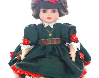 CHRISTMAS PORCELAIN DOLL, Vintage, Authentic, Marie Osmond, Olive May Christmas Doll, Little Princess Gift Inspiration, Collectible