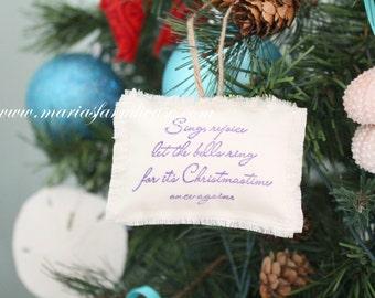 White Christmas Decoration, Christmas Ornament Stuffed Pillow with Fray Edge & Jute Hoop, Keepsake, Modern Minimalist Holiday Decor