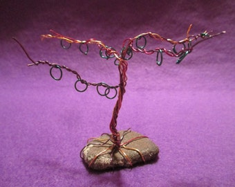 Rainbow Wire Tree  - Infinite Forest Tree Wire Sculpture - OOAK Handmade - Earing Tree - Mulit-color Wire - Dee's Transformations
