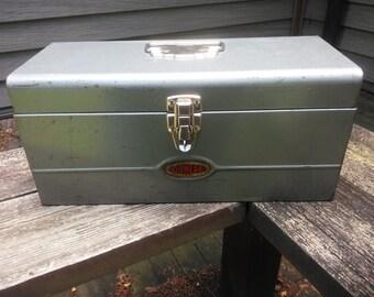 Dunlap Tool Box - Vintage Metal Dunlap Tool Box - Tool Storage