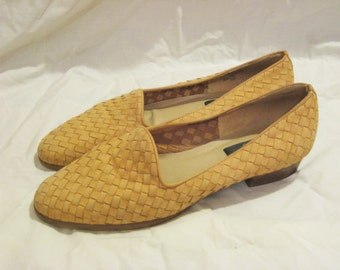 Vintage Woven Leather Loafers, size 8.5