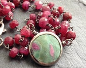 Ruby delicate necklace - rosary chain semi precious dainty jewelry, ruby zoisite charm, rich red lux by mollymoojewels