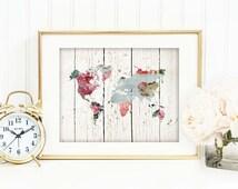 Shabby World Map Print, Chic Office Decor, Floral Map Poster, Travel Art Print, Romantic, Wood, Rustic, Blue, Nursery, Cottage Decor, SKU046