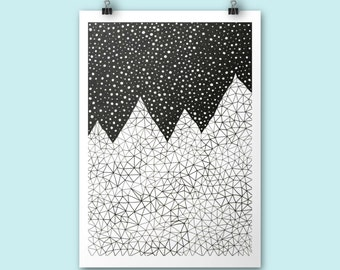 Mountain print / Day and Night / A4 print / Art print / Illustration / Contemporary art / graphic art