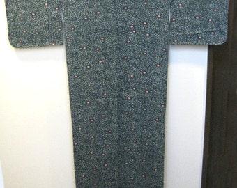 Vintage Kimono,Silk,Dark green,flower pattern,No.24