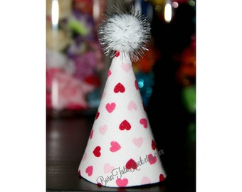 Mini Hearts Mini Party Hat // Valentine's Day Party Hat // Ready to Ship // by Born TuTu Rock