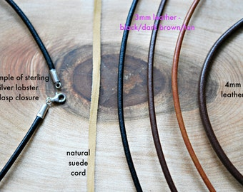 Leather necklace - simple leather cord necklace - sterling silver clasp - tan brown black - DIY customize cord only - greek leather