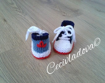 Hand knitted booties,baby boy ,