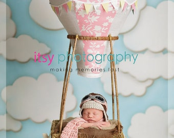 Newborn Boy  Photo Prop set,Baby boy Aviator Hat and Aviator scarf ,Aviator hat.