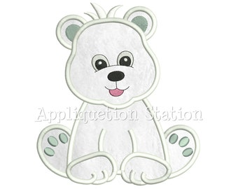 Zoo Baby Polar Bear Cub Applique Machine Embroidery Design Boy Artic Cute animal INSTANT DOWNLOAD