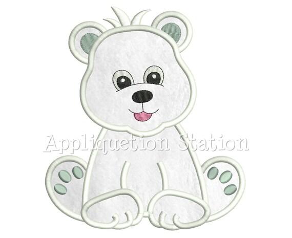 Free embroidery designs cute embroidery designs - Zoo Baby Polar Bear Cub Applique Machine Embroidery Design Boy