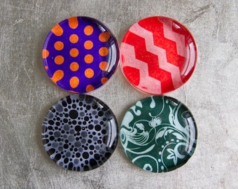 Super Strong 1.5-inch Round Magnets Set of 4 (Buy three magnets get one free) with Colorful Patterns - Purple Red Gray Green