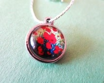 Red Flower Ring, Photo Ring -Poppies ring - Poppy Necklace - red  Flower  Jewelry-  poppy ring - Mothers day gifts anf free gift
