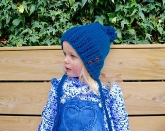 Children's knit pixie earflap split brim petrol hat with two buttons beanie with braids pompom toddler child kid cosy warm winter skate ski